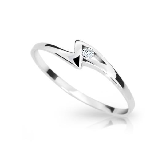 Zlatý prsten DF 1138 z bílého zlata, s briliantem
