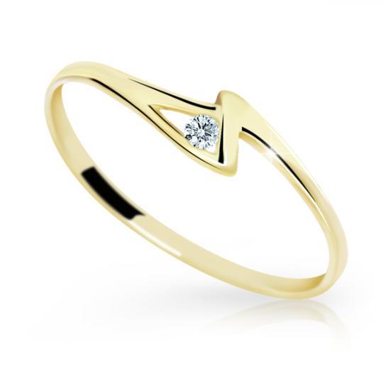 Zlatý prsteň DF 1138 zo žltého zlata, s briliantom