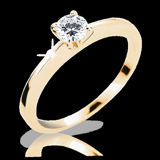 Zlatý prsten DF 1232 ze žlutého zlata, s briliantem