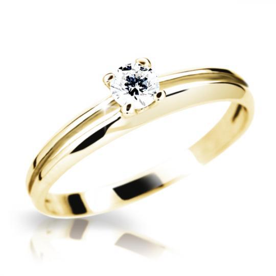 Zlatý prsten DF 1272 ze žlutého zlata, s briliantem