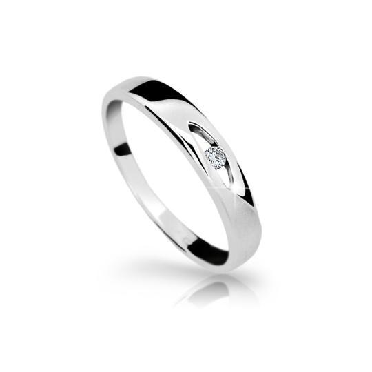 Zlatý prsteň DF 1281 z bieleho zlata, s briliantom