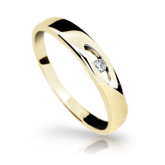 Zlatý prsten DF 1281 ze žlutého zlata, s briliantem