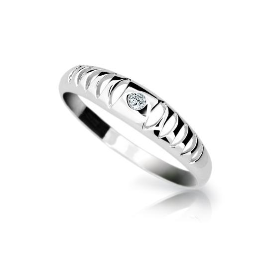 Zlatý prsteň DF 1282 z bieleho zlata, s briliantom