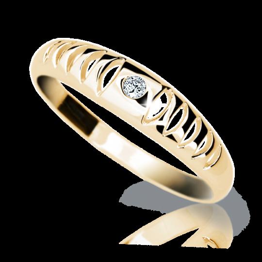 Zlatý prsten DF 1282 ze žlutého zlata, s briliantem