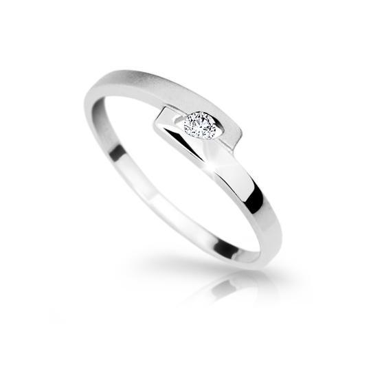 Zlatý prsteň DF 1284 z bieleho zlata, s briliantom