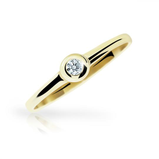 Zlatý prsten DF 1286 ze žlutého zlata, s briliantem