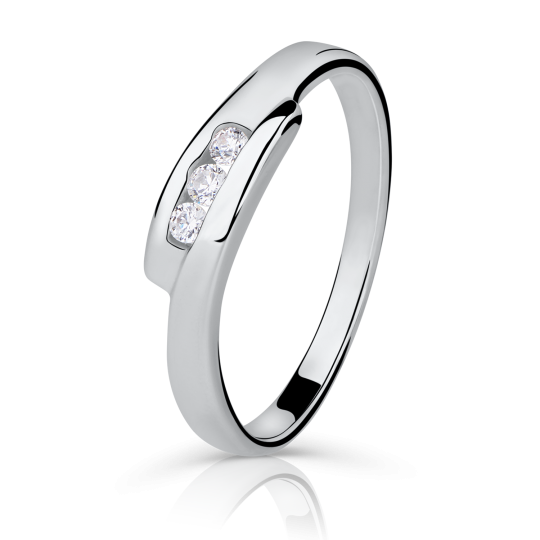 Zlatý prsten DF 1289 z bílého zlata, s briliantem
