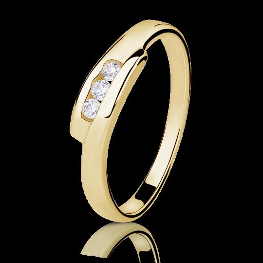 Zlatý prsten DF 1289 ze žlutého zlata, s briliantem