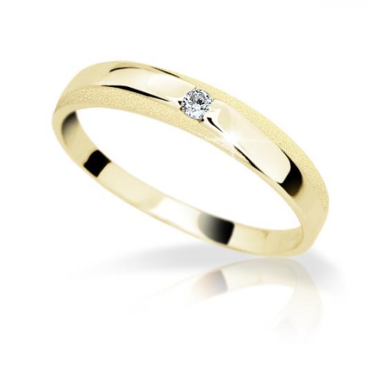 Zlatý prsten DF 1617 ze žlutého zlata, s briliantem