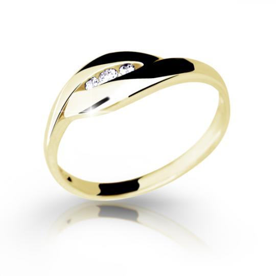 Zlatý prsten DF 1618 ze žlutého zlata, s briliantem