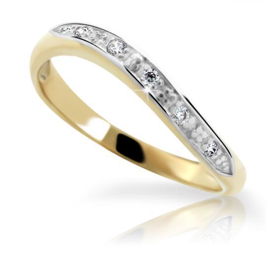 Zlatý prsten DF 1621 ze žlutého zlata, s briliantem