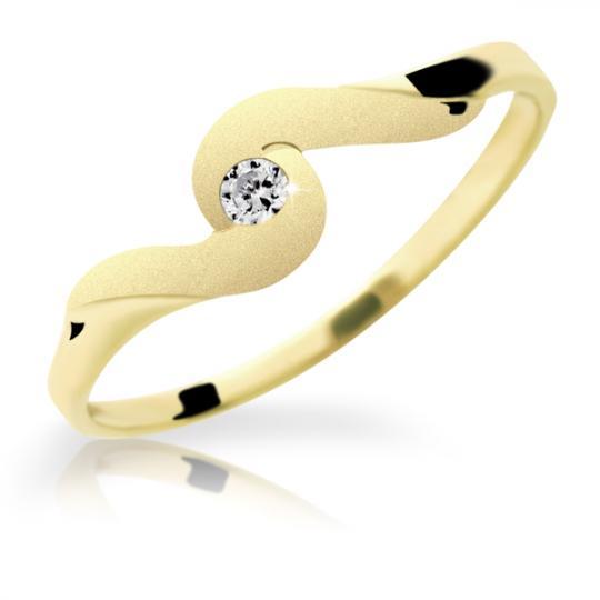 Zlatý prsten DF 1622 ze žlutého zlata, s briliantem