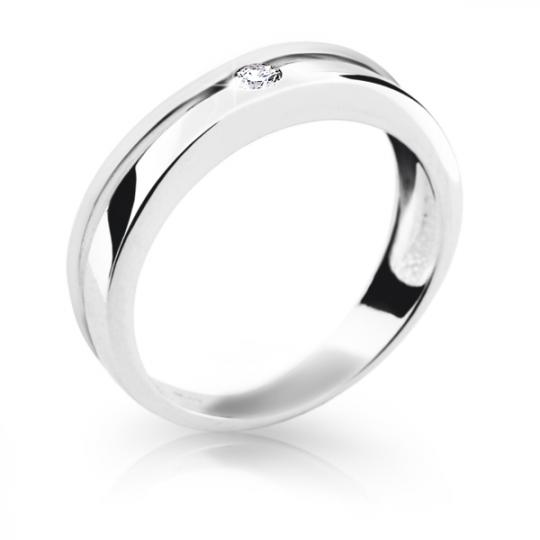 Zlatý prsten DF 1710 z bílého zlata, s briliantem
