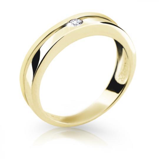 Zlatý prsten DF 1710 ze žlutého zlata, s briliantem
