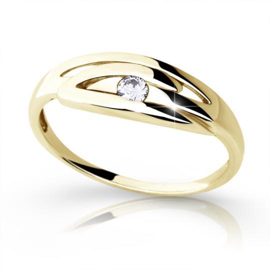 Zlatý prsten DF 1714 ze žlutého zlata, s briliantem