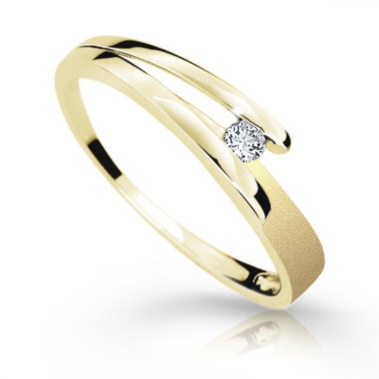 Zlatý prsten DF 1716 ze žlutého zlata, s briliantem