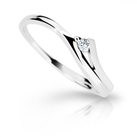 Zlatý prsteň DF 1718 z bieleho zlata, s briliantom