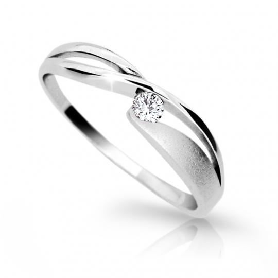 Zlatý prsteň DF 1721 z bieleho zlata, s briliantom