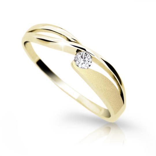 Zlatý prsten DF 1721 ze žlutého zlata, s briliantem