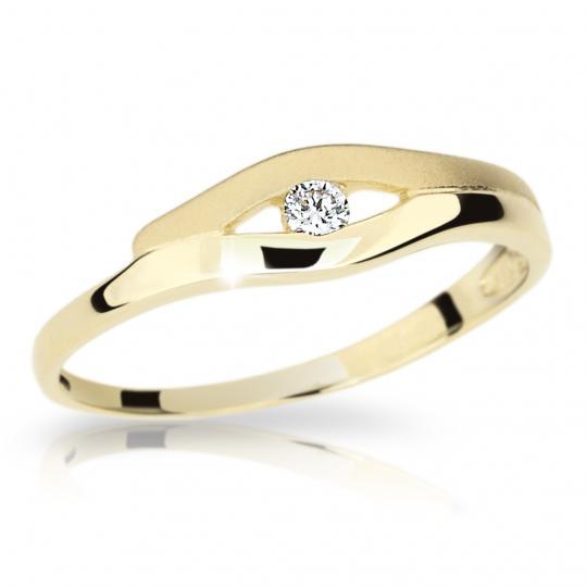 Zlatý prsten DF 1745 ze žlutého zlata, s briliantem