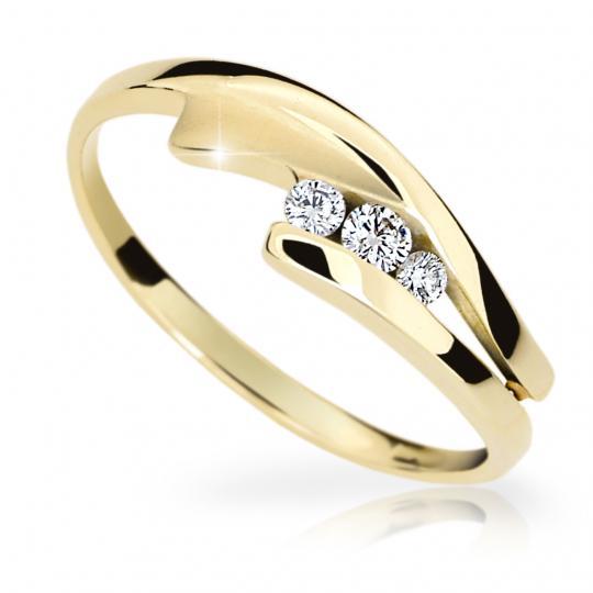 Zlatý prsten DF 1750 ze žlutého zlata, s briliantem
