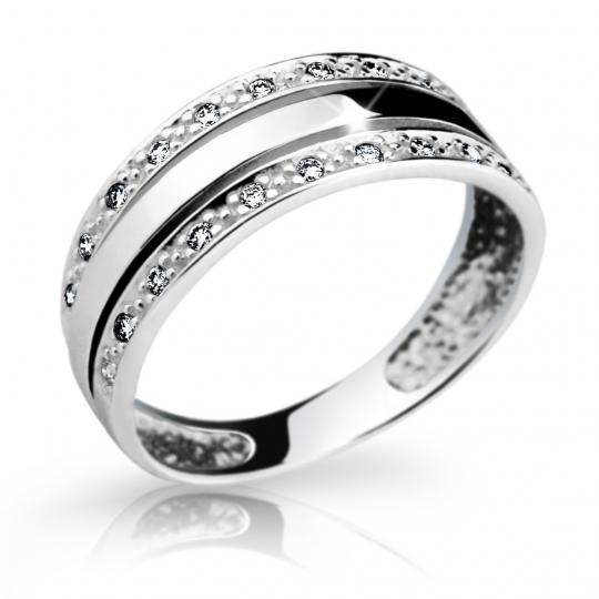 Zlatý prsteň DF 1773 z bieleho zlata, s briliantom
