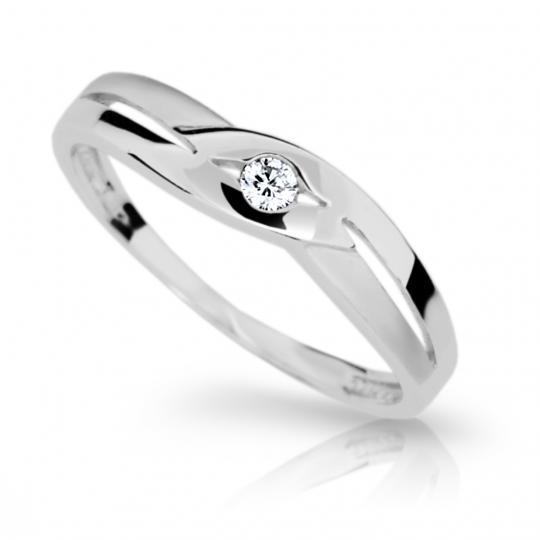 Zlatý prsteň DF 1776 z bieleho zlata, s briliantom