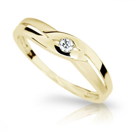 Zlatý prsten DF 1776 ze žlutého zlata, s briliantem