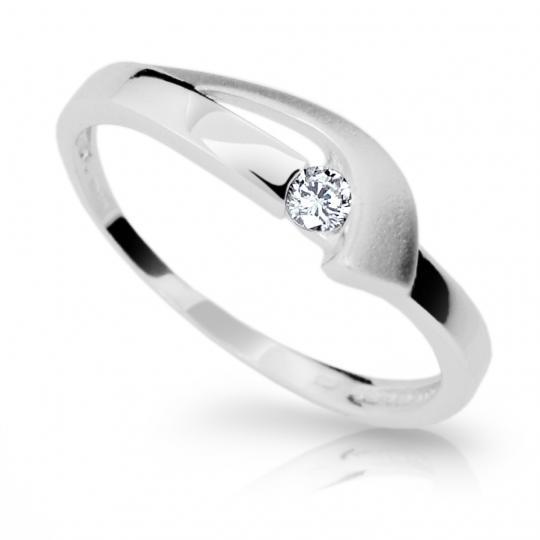 Zlatý prsteň DF 1779 z bieleho zlata, s briliantom