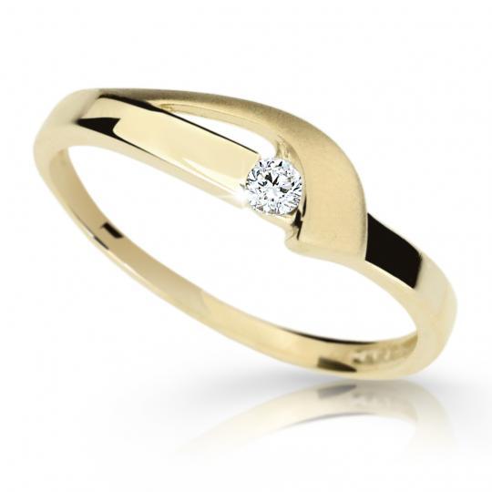 Zlatý prsten DF 1779 ze žlutého zlata, s briliantem