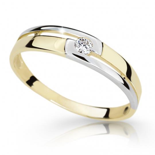 Zlatý prsten DF 1793 ze žlutého zlata, s briliantem