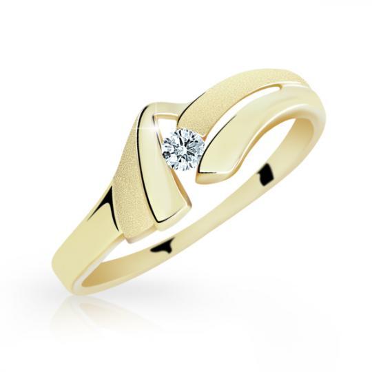 Zlatý prsten DF 1835 ze žlutého zlata, s briliantem