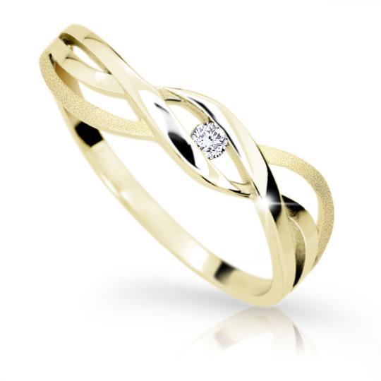 Zlatý prsten DF 1843 ze žlutého zlata, s briliantem