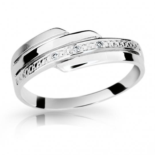Zlatý prsten DF 1844 z bílého zlata, s briliantem