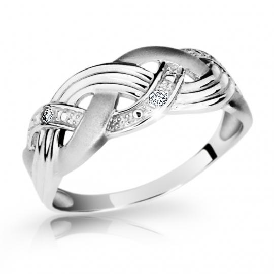Zlatý prsten DF 1848 z bílého zlata, s briliantem