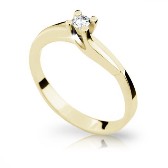 Zlatý prsten DF 1854 ze žlutého zlata, s briliantem