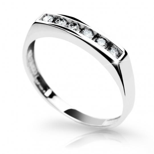 Zlatý prsteň DF 1863 z bieleho zlata, s briliantom