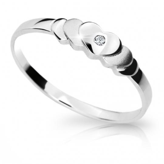 Zlatý prsten DF 1876 z bílého zlata, s briliantem
