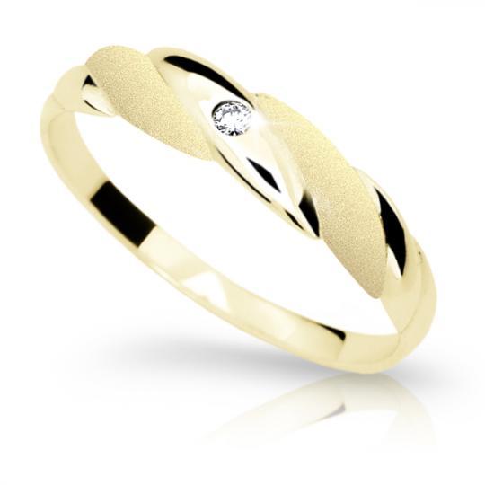 Zlatý prsten DF 1880 ze žlutého zlata, s briliantem