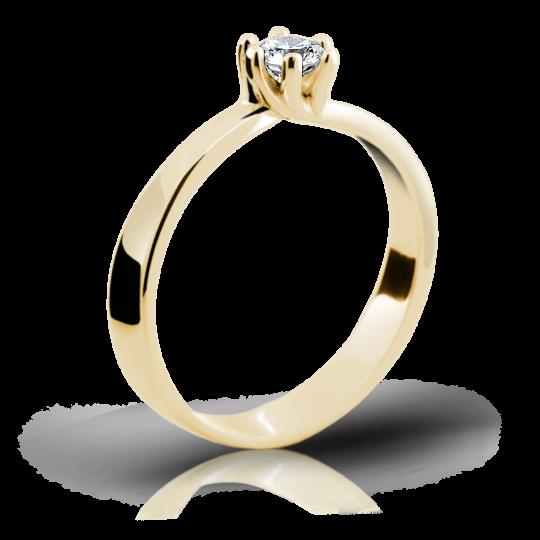 Zlatý prsteň DF 1903 zo žltého zlata, s briliantom