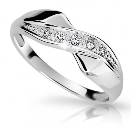 Zlatý prsteň DF 1915 z bieleho zlata, s briliantom