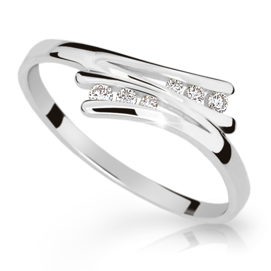 Zlatý prsten DF 1950 z bílého zlata, s briliantem