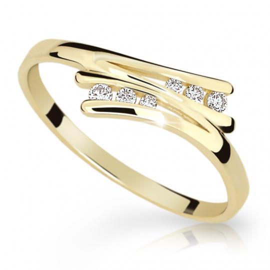 Zlatý prsten DF 1950 ze žlutého zlata, s briliantem
