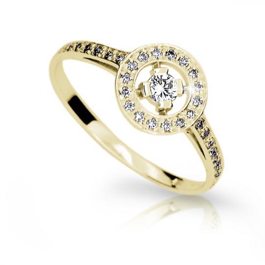 Zlatý prsten DF 1990 ze žlutého zlata, s briliantem