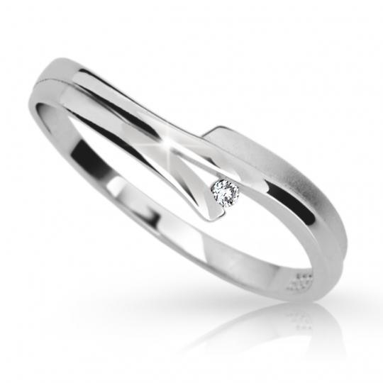 Zlatý prsten DF 2000 z bílého zlata, s briliantem