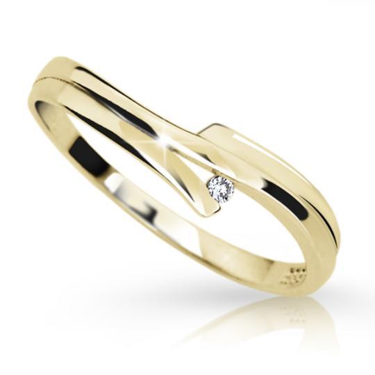 Zlatý prsten DF 2000 ze žlutého zlata, s briliantem