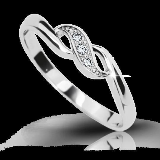 Zlatý prsten DF 2001 z bílého zlata, s briliantem