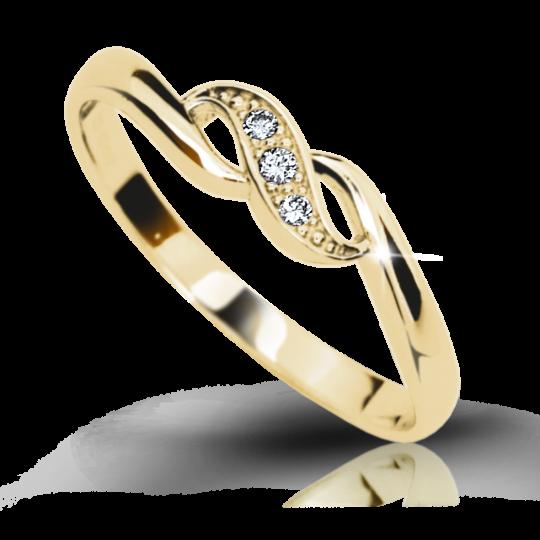 Zlatý prsten DF 2001 ze žlutého zlata, s briliantem
