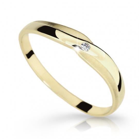 Zlatý prsteň DF 2006 zo žltého zlata, s briliantom