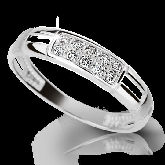 Zlatý prsten DF 2033 z bílého zlata, s briliantem